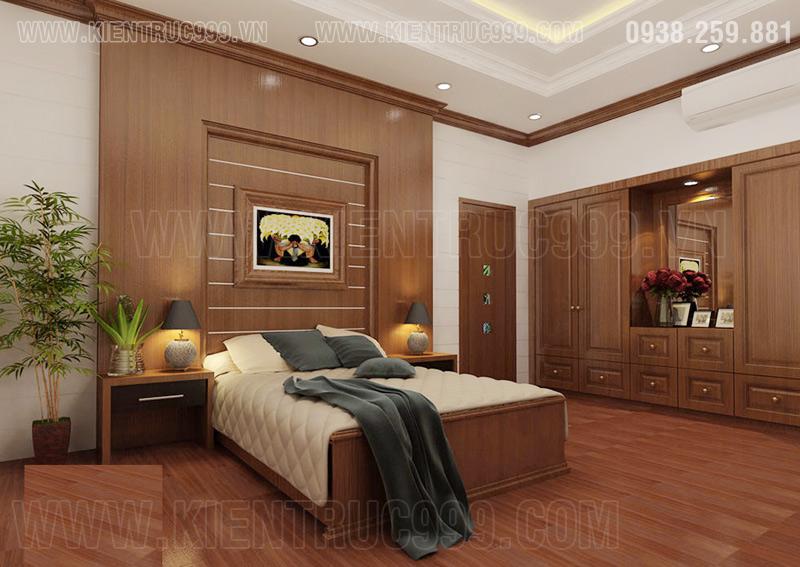 Thiết kế nội thất phòng ngủ nhà 2 mặt tiền đẹp này ấm cúng sang trọng với gỗ.